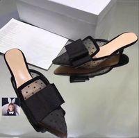ingrosso bowtie di maglia-2018 Designer donna gattino tacchi sandali moda Bowtie Mesh ragazze sexy scarpe a punta scarpe da ballo scarpe da sposa