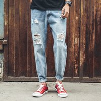 Wholesale Men Distressed Ripped Jeans Fashion Designer Relaxed Motorcycle Biker Jeans Casual Denim Pants Light Blue Mens Jeans Cool