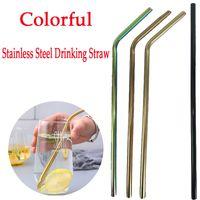 Wholesale milking tool - Stainless Steel Straw Drinking Reusable Metal Colorful Milk Tea Juice Straws Bent Straight Drinking Straws Bar Tool