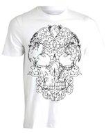 tops de encaje de calavera al por mayor-Lace Skull Biker Illustration Print Camiseta para hombre Top AH42 Hip Hop hombres camiseta rock Unisex camiseta Tops de moda Cool Summer Tees