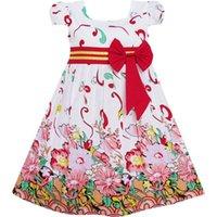 festa ensolarada venda por atacado-Sunny fashion girls dress flor rosa festa de manga curta de aniversário crianças de algodão 2018 summer princess vestidos de noiva tamanho 2-10