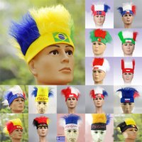 Wholesale world cup country flags for sale - Group buy Fashion Funny World Cup Theme Hats With Country Flag Design Wigs For Football Soccer Fans Favor Headband Team Pattern Souvenir yc ZZ