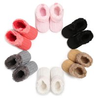 Wholesale free crocheted baby booties online - 2018 Winter Baby Girls Snow Boots Bowknot Children Shoes Booties Crochet Knit Baby Shoes For Girls Boys Styles Free DHL G140Q