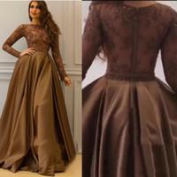 вечерние платья оптовых-Платья для выпускного с длинным рукавом из Саудовской Аравии с отстегивающейся юбкой и кружевным лифом с иллюзией