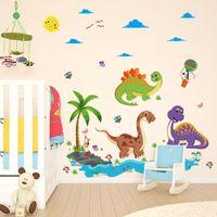 décorations de dinosaures pour enfants achat en gros de-[Fundecor] Cartoon Dinosaur Paradise stickers muraux pour chambres d'enfants chambre d'enfant stickers muraux peintures murales bricolage décoration de la maison Adhésif
