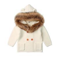 с капюшоном зимние мальчики шерсть оптовых-LILIGIRL 2018 Fur Hooded Boys Knit Cardigan Outwear Baby Girls Winter Warm Clothes for Kids Fashion Knitwear Sweater Jacket