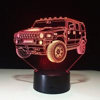 novedad led luces decoraciones para el hogar al por mayor-Decoración del hogar Hummer Novedad Lámpara 3D Lámpara LED de luz nocturna Batería nocturna USB para niños Sala # R54