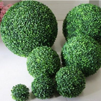Wholesale boxwood balls resale online - 2PCS Large Green Artificial Plant Ball Topiary Tree Boxwood Wedding Party Home Outdoor Decoration plants plastic grass ball