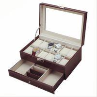 Wholesale drawer storage - 2017 Original Multifunctional Drawer-style PU Watch Box Collection Jewelry Display Collection Storage Case Watches Boxes Holder