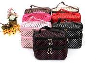güzel kozmetik çantaları toptan satış-Çift Katmanlı Kozmetik Çantası Taşınabilir Yıkama Makyaj Çantası Moda seyahat yıkama çanta kızın Küçük Noktalar Güzel makyaj çantası