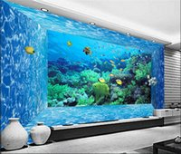 Wholesale underwater 3d mural waterproof wallpapers fireproof for sale - Group buy Custom D Photo Wallpaper Mural D Stereoscopic Space Underwater World Living Room Bedroom TV Background Paper Wall Papers D