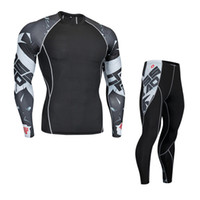 Wholesale motorcycle warm winter pants - Motorcycle Men Thermo Underwears Suits Set Motorcycle Skiing Winter Warm Base Layers Tight Long Tops & Pants Thermal Underwear