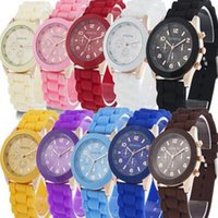 Wholesale Candy Colored - unisex colorful watch Boys and girls candy colored jelly watch rubber silicone Jewelry back to school