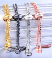 Wholesale channel connectors for sale - Group buy Hand Made Jewelry Findings Accessories Color Copper Alloy Rhinestone Simple Adjustable Slider Chain DIY Bracelets Charm Connector