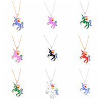 Wholesale Rainbow Chokers - Cute Enamel Unicorn Necklace Mixed 6 Colors Cartoon Rainbow Horse Choker Silver Gold Chain Childhood Necklaces&Pendants For Birthday Gifts