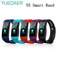 ingrosso anello di frequenza cardiaca-Schermo Yuedaer Y5 intelligente Banda attività Fitness Tracker Heart Rate Monitor intelligente Color Ring Bracciale Vs Xiaomi Mi Band 2