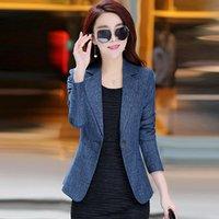 ingrosso giacca verde a forma di primavera di primavera-Blazer primavera moda donna rosa verde manica lunga casual stile coreano giacca elegante ufficio donna affari Blazer 4XL
