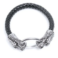 Wholesale Dragon Bracelet Women - whole saleDawapara Leather Dragon Titanium Male Accessories Animal Bracelets Viking Bangle Stainless Steel For Women Totem Jewelry