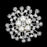 Wholesale snowflake crystal brooch pin for sale - Group buy Ladies wear accessories with big snowflake Pearl Crystal Brooch exquisite flower brooch pin and retail Accessories