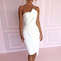Wholesale hollow out shoulder dress resale online - Yellow Ruched Summer Off Shoulder Sleeveless Bandage Dress Asymmetric Hem Wrapped Chest Women Club Party Bodycon Dress Vestidos