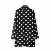 Wholesale pleated mini for sale - women vintage sweet big polka dot patchwork pleated small dot casual slim dresses ladies spring mini vestidos mujer DS371