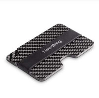 Wholesale japan dresses sleeves - NewBring Real Compact Carbon Fiber Mini Money Clip Credit Card Sleeve ID Holder With RFID Anti Thief Card Wallet