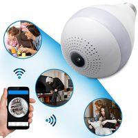Wholesale fisheye security camera - 2MP 1080P 360 degree WiFi Bulb Light Surveillance camera Panoramic wireless security cameras FishEye IP CCTV Home Security