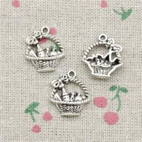 basket necklace jewelry Australia - 77pcs Charms basket 20*17mm Antique Silver Pendant Zinc Alloy Jewelry DIY Hand Made Bracelet Necklace Fitting