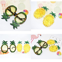 plaj süsü toptan satış-Ananas Gözlük Parti Malzemeleri Komik Top Sandy Beach Yaz Fotoğraf Makaleleri Prop Sarı Yeşil Gözlükler Süs 7 8sf V