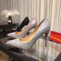 Wholesale Green Flower Girl Shoes - 2018 Pointed Toe Crystal Wedding Women Girls High Heels Heeled Pumps Dress Shoe