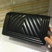 Wholesale grey chevron bag - Classic Style chevron Top AAAAA quality Leboy Sheepskin Lock Quilted Genuine Caviar Lambskin Real Leather Plaid Flaps Shoulder Chain Bags