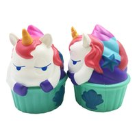 Wholesale cupcake kids - Kawaii Unicorn Squishy Cupcake Hippo Slow Rising Cute Animal Jumbo Soft Squzze Decompression Toys Phone Charms Gift OOA4992