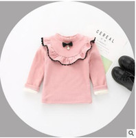 Wholesale Girls Long Sleeve Ruffle Tee - Toddler kids bottoming T-shirts Baby girls velvet ruffle lace collar tees Infants Bows pearl long sleeve tops Baby Winter cute clothes C2501