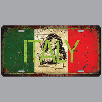 Wholesale italy home decor resale online - Italy Car Plates Number USA License Plate Garage Plaque Metal Tin Sign Bar Decoration Vintage Home Decor