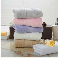 toallas de playa teñidas con hilo al por mayor-Rosa 100% algodón grueso baño toalla de playa para adultos niños 35x75cm hilado teñido suave color sólido absorbente hotel hotel toallas altas