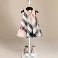Wholesale pure cotton girls dresses for sale - Group buy 2018 Summer New Pattern Lattice England Wind Princess Skirt Vest Skirt Pure Cotton Girl Dress