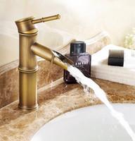 ingrosso rubinetti dell'acquazzone d'ottone antichi dell'acqua-Antique Bamboo Bathroom Faucet Bronzo antico Finitura Bacino Lavandino Rubinetto Monocomando Bamboo Rubinetto