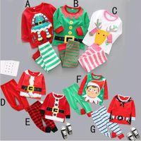 patrón libre pantalones chico al por mayor-Venta al por mayor Ropa de bebé Niños Niñas Navidad 7 diseños Patrón 2 piezas de pijama Set Top Pantalones de DHL envío gratis
