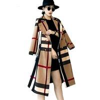 ingrosso abiti neri per le donne-2017 autunno Inghilterra stile rosso nero plaid doppio petto cappotti a vento donna casual classico patchwork accappatoio Femme