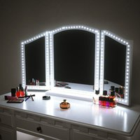 Wholesale mirrors for vanities resale online - LED Makeup Mirror Strip light ft M LEDs Vanity Mirror Lights LED Strip Kit Mirror For Makeup table Set with Dimmer S Shape