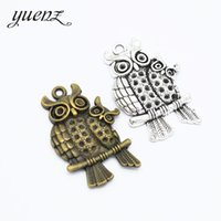 28mm bronce antiguo al por mayor-YuenZ 4 pcs Owl Charms Antique Silver Bronze Metal colgantes para el collar de la joyería que hace 43 * 28 mm D170