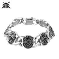 Wholesale men gothic silver bracelets for sale - Group buy RIR Gothic Link Black Viking Bangle Bracelets Silver Stainless Steel Heavy Bracelet Bangles Big For Men Jewelry