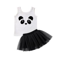 детская одежда оптовых-Cute Newborn Toddler Kids Baby Girl Summer Clothes Panda Vest Tops Tutu Tulle Skirt Outfits Princess Children Clothing Set