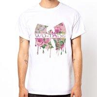 дизайн музыкального искусства оптовых-Капает ВУ Тан-цветочный узор рэп хип-хоп музыка подарок дизайн искусство белый футболка 2018 Смешные тройник милые футболки человек 100% хлопок прохладный