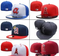 Wholesale baseball full cap hat - 2018 New Men's Angels Red Color fitted hat flat Brim embroiered A letter team logo fans baseball Hats size angels full closed Chapeu brands