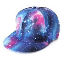 şapka galaksisi toptan satış-Galaxy Uzay Beyzbol Snapback Cap Unisex Kadın Erkek Hip Hop Dans Düz Hat