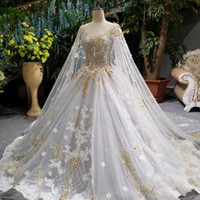Wholesale golden wedding gowns for sale - Group buy LSSP001 luxury long cape wedding gown with golden lace o neck sleeveless see through back bride wedding dresses with long cape