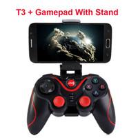 xbox uzaktan kumandalar toptan satış-2019 Sıcak Terios T-3 T3 Android Kablosuz Bluetooth Gamepad Oyun Uzaktan Kumanda Joystick BT 3.0 Android Smartphone Tablet PC için TV Kutusu