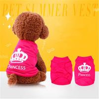 roupas bonitas para cães pequenos venda por atacado-Pet roupas de cachorro filhote de cachorro colete primavera verão t-shirt pet camisa bonito colete de cachorro princesa pijamas pet roupas de gato traje para cão pequeno