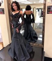 ingrosso vestito nero dal corsetto disossato nero-Tutto nero sirena manica sirena abiti da spettacolo di spettacolo 2018 sexy fuori spalla corsetto disossamento corsetto pieno lunghezza top prom abito del partito